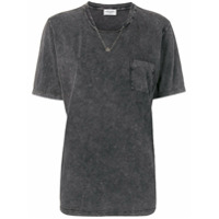 Saint Laurent Camiseta Decote Arredondado - Cinza