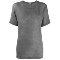 Saint Laurent Camiseta Slim Mangas Curtas - Cinza
