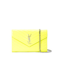 Saint Laurent Clutch Com Placa Monogramada - Amarelo