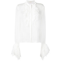 Saint Laurent Crepe Muslin Frilly Shirt - Branco