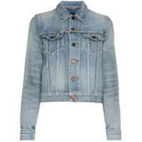 Saint Laurent Jaqueta Jeans Cropped - Azul