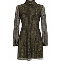 Saint Laurent Leopard Midi Shirt Dress - Dourado