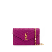 Saint Laurent Carteira Monogramada Com Corrente - Roxo