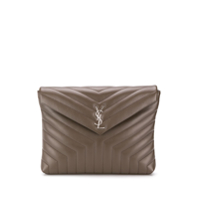 Saint Laurent Clutch Monogramada - Cinza