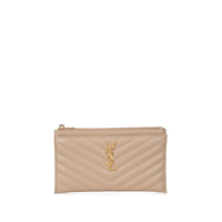 Saint Laurent Monogrammed Matelassé Calf Leather Clutch - Cinza