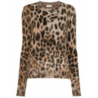 Saint Laurent Suéter Animal Print - Marrom