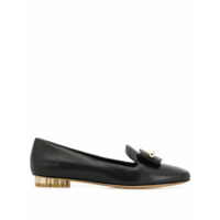 Salvatore Ferragamo Flower Heel Slipper Shoes - Preto