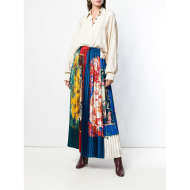 Salvatore Ferragamo Long Sumatra Skirt - Azul