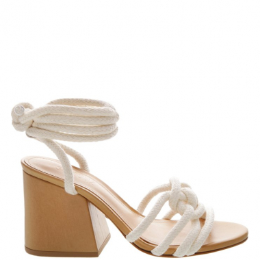 Sandália Block Heel Corda Lace-Up White | Schutz
