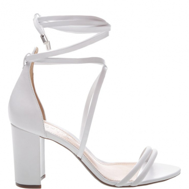 Sandália Block Heel Lace-Up White | Schutz