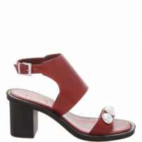 Sandália Block Heel Metallic Balls Red | Schutz