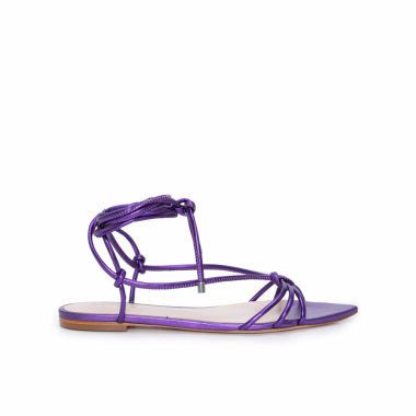 Sandália Flat Strings Metallic - Roxo