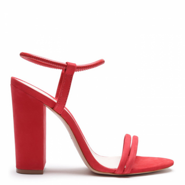 Sandália Salto Grosso Strings Red | Schutz
