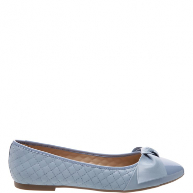 Sapatilha Matelassê Lace Up Verniz Crystal Blue | Arezzo