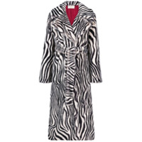 Sara Battaglia Trench Coat Animal Print - Preto