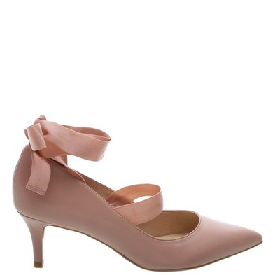 f0d7e4170d Scarpin Couro Lace-up Salto Kitten Feminino Rose Blush