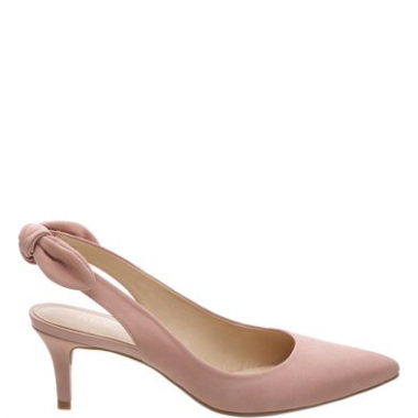 8e891006b2 Scarpin Nobuck Salto Kitten Tiny Bow Rose Blush