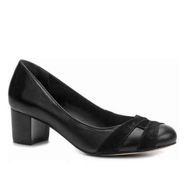 Scarpin Shoestock Salto Grosso Mix Couros-Feminino