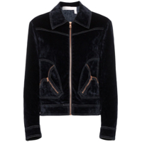 See By Chloé Harrington Zip Up Velvet Jacket - Azul