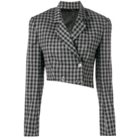 Seen Users Check Print Cropped Blazer - Cinza