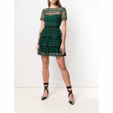 Self-Portrait Vestido Com Renda - Green