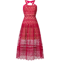 Self-Portrait Vestido Midi Bordado - Rosa