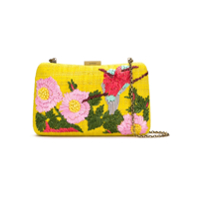 Serpui Clutch De Palha Bordada - Yellow