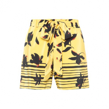 Short Barrado Floral Animale - Amarelo