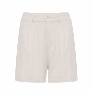 Short Feminino Fluid Linen Pleats - Bege