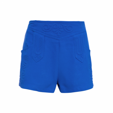 Short Feminino Summer Bordado - Azul