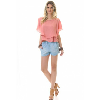 Short Jeans Com Bordado De Corrente