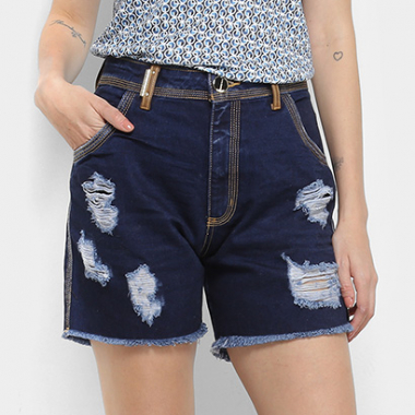 Short Jeans High Comfort Lança Perfume Destroyed-Feminino