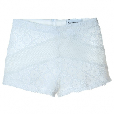 Short Recortes Renda Off Whitepre-Feminino