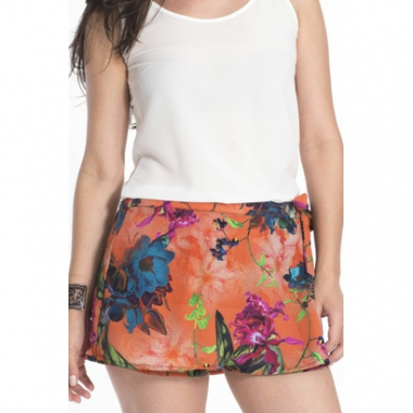 Short Saia My Place Studio Estampado-Feminino