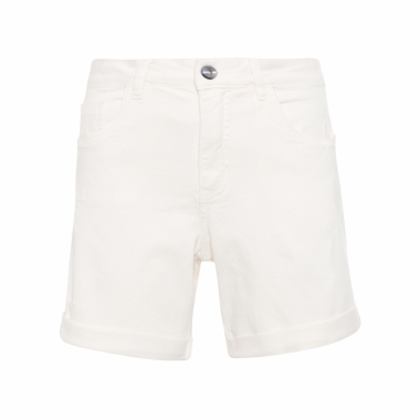 Shorts Feminino De Sarja Barra Italiana - Off White