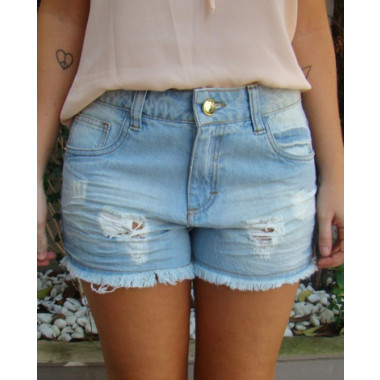 Shorts Jeans Destroyed Claro