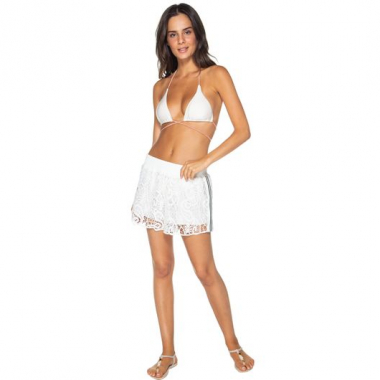Shorts Liso De Guipure Celebrate Off White Comercial P