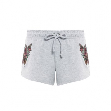 Shorts Moletom Bordado Canal - Cinza