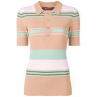 Sies Marjan Striped Rib Knit Polo Shirt - Neutro