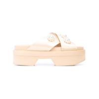 Simone Rocha Pearl Cross Strap Sandals - Neutro