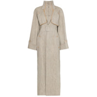 Situationist High-Neck Contrast-Stitch Belted Trench Coat - Neutro