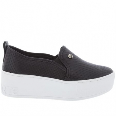Slip On Via Marte Flatform Textura Preto