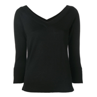 Snobby Sheep Wide V-Neck Sweater - Preto