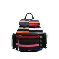 Sonia Rykiel Striped Multi-Pocket Backpack - Preto