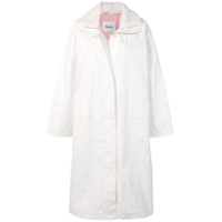 Stand Fur Collar Trench Coat - Branco