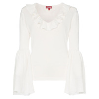 Staud Goldbar Ruffle Detail Cotton Top - Branco