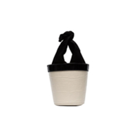 Staud White And Black Britt Leather Mini Bucket Bag - Preto