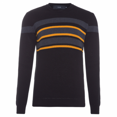 Suéter Masculino Honeycomb Chest Stripes - Preto