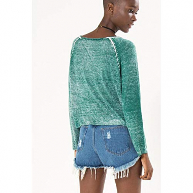 Sweater Básico Washed Verde Mantra - M