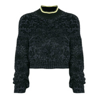 T By Alexander Wang Cropped Knitted Jumper - Preto
